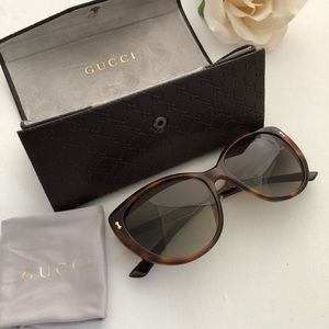 GUCCI Cat-Eye Havana Gold Tortoise Sunglasses